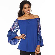 Colleen Lopez Off-Shoulder Embroidered Sleeve Blouse