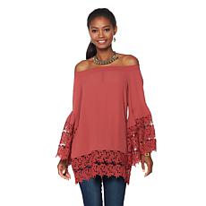Colleen Lopez Off-the-Shoulder Lace Top