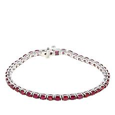 Colleen Lopez Oval Ruby Sterling Silver Line Bracelet