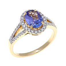 Colleen Lopez Oval Tanzanite and Diamond 14K Gold Ring