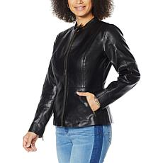 Colleen Lopez Peplum Faux Leather Jacket