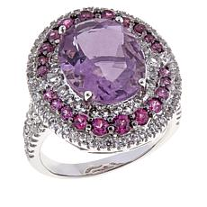 Colleen Lopez Pink Fluorite, Rhodolite and White Topaz Ring