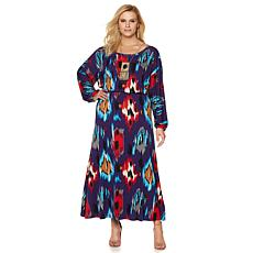 Colleen Lopez Printed Dolman-Sleeve Maxi Dress