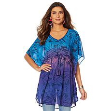 Colleen Lopez Printed Tie-Waist Poncho