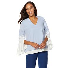 Colleen Lopez Proper Pick Colorblock Bell-Sleeve Top