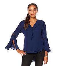 Colleen Lopez Retro Refresh Lace-Inset Ruffle Blouse