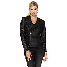 Colleen Lopez Revved Up Cutout Faux Leather Jacket