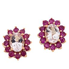 Colleen Lopez Rose Gold-Plated Morganite and Ruby Earrings