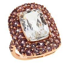 Colleen Lopez Rose Gold-Plated White Spodumene and Mahenge Garnet Ring