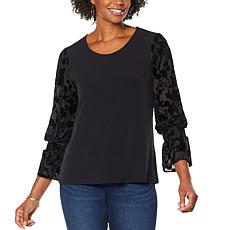 Colleen Lopez Sheer Burnout Puff-Sleeve Top