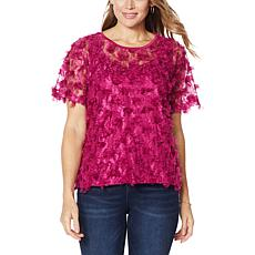 Colleen Lopez Sheer Fringe Top with Cami