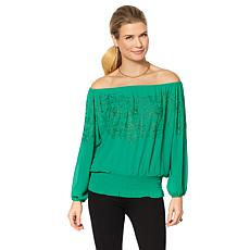 Colleen Lopez Shimmer On Embellished Peasant Top