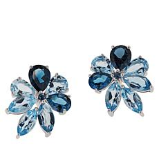 Colleen Lopez Sky Blue Topaz and London Blue Topaz Cluster Earrings