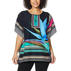 Colleen Lopez Split Neck Printed Woven Poncho