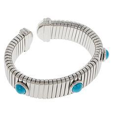 Colleen Lopez Stainless Steel Gemstone Tubogas Cuff