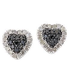 Colleen Lopez Sterling Silver 0.49ctw Diamond Halo Heart Stud Earrings