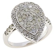 Colleen Lopez Sterling Silver 1.10ctw Diamond Pear Shape Ring