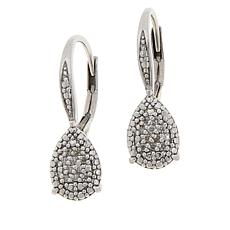 Colleen Lopez Sterling Silver .12ctw Diamond Pear-Shaped Drop Earrings
