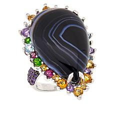 Colleen Lopez Sterling Silver Black Agate and Multi-Gem Ring