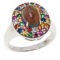 Colleen Lopez Sterling Silver Black Opal and Multi Gemstone Ring