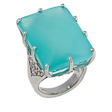 Colleen Lopez Sterling Silver Chalcedony and White Zircon Ring
