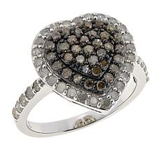 Colleen Lopez Sterling Silver Diamond Halo Heart Ring