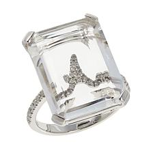 Colleen Lopez Sterling Silver Diamond Initial and Clear Quartz Ring