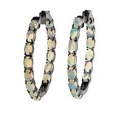 Colleen Lopez Sterling Silver Ethiopian Opal Hoop Earrings
