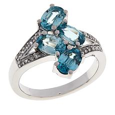Colleen Lopez Sterling Silver Gemstone and White Zircon Bypass Ring