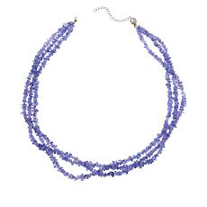 Colleen Lopez Sterling Silver Gemstone Chip 3-Strand Necklace