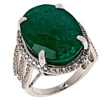 Colleen Lopez Sterling Silver Green Beryl and White Zircon Ring