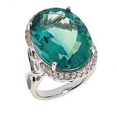 Colleen Lopez Sterling Silver Green Fluorite and White Zircon Ring