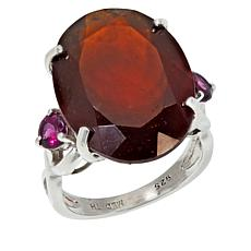 Colleen Lopez Sterling Silver Hessonite and Rhodolite Ring
