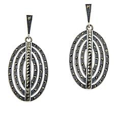Colleen Lopez Sterling Silver Marcasite Oval Drop Earrings