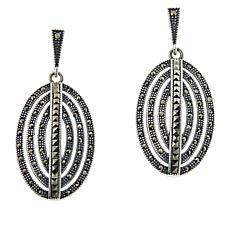 Colleen Lopez Sterling Silver Marcasite Oval Drop Earrings