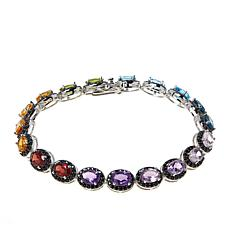 Colleen Lopez Sterling Silver Multi-Color Gemstone Line Bracelet