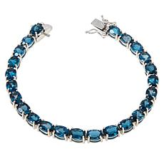 Colleen Lopez Sterling Silver Oval Blue Topaz Tennis Bracelet