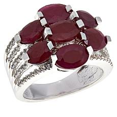 Colleen Lopez Sterling Silver Oval Gemstone and White Zircon Ring