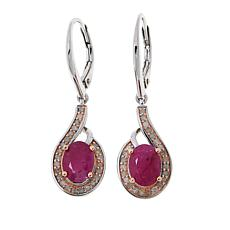 Colleen Lopez Sterling Silver Oval Ruby and Pink Diamond Earrings