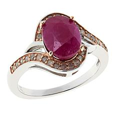 Colleen Lopez Sterling Silver Oval Ruby and Pink Diamond Ring