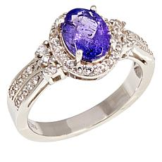 Colleen Lopez Sterling Silver Oval Tanzanite and White Zircon Ring