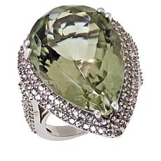 Colleen Lopez Sterling Silver Pear-Cut Gemstone and White Zircon Ring