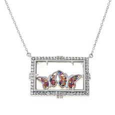 Colleen Lopez Sterling Silver Sapphire Floating Double Charm Necklace