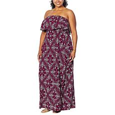 Colleen Lopez Strapless Printed Maxi Dress