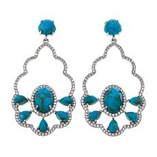 Colleen Lopez Turquoise and White Topaz Sterling Silver Drop Earrings