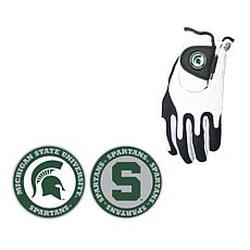 Collegiate NCAA Zero Friction Golf Glove and Ball Marker