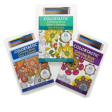 Colortastic 3-pack Coloring Books with 18 Colored Pencils