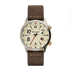 "Columbia ""Outbacker"" Men's Stone Dial Saddle Leather  Strap Watch"