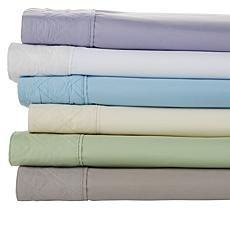 Concierge Collection 4-piece Double Diamond Quilted Hem Sheet Set