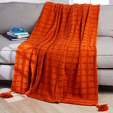 Concierge Collection Oversized Checkered Throw with Tassels